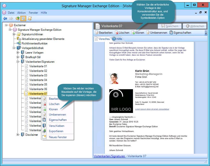 Signature Manager Exchange Edition DE - Klonen von Vorlagen