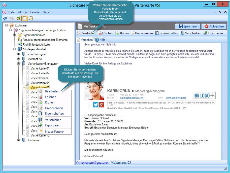 Signature Manager Exchange Edition DE - Bearbeiten von Vorlagen