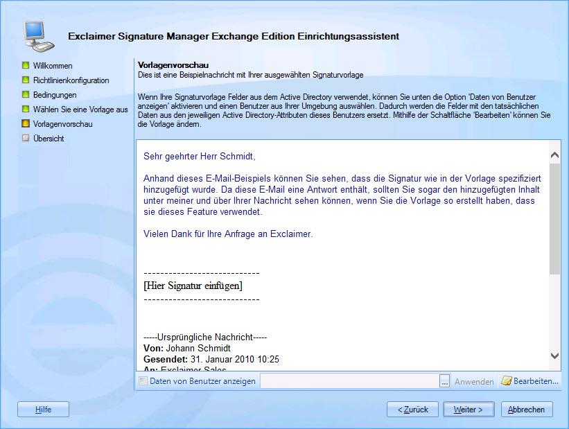 Signature Manager Exchange Edition DE - Der Konfigurationsassistent