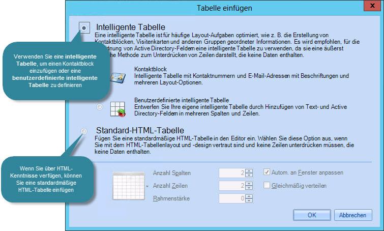 Signature Manager Exchange Edition DE - Tabellen