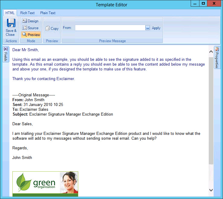 Exclaimer signature manager exchange edition how do i add a when this template is previewed it is displayed as follows ccuart Gallery