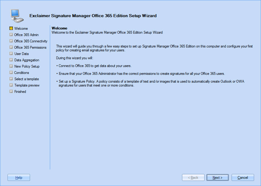 Exclaimer Signature Manager Office 365 Edition The Setup Wizard