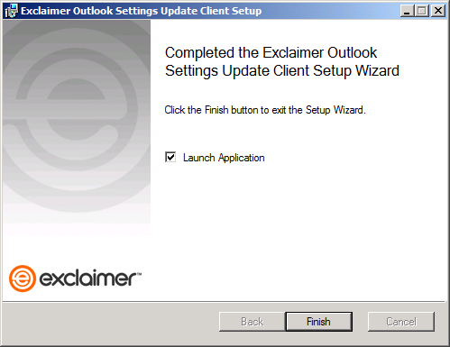 Exclaimer Outlook Settings Update Client Setup wizard